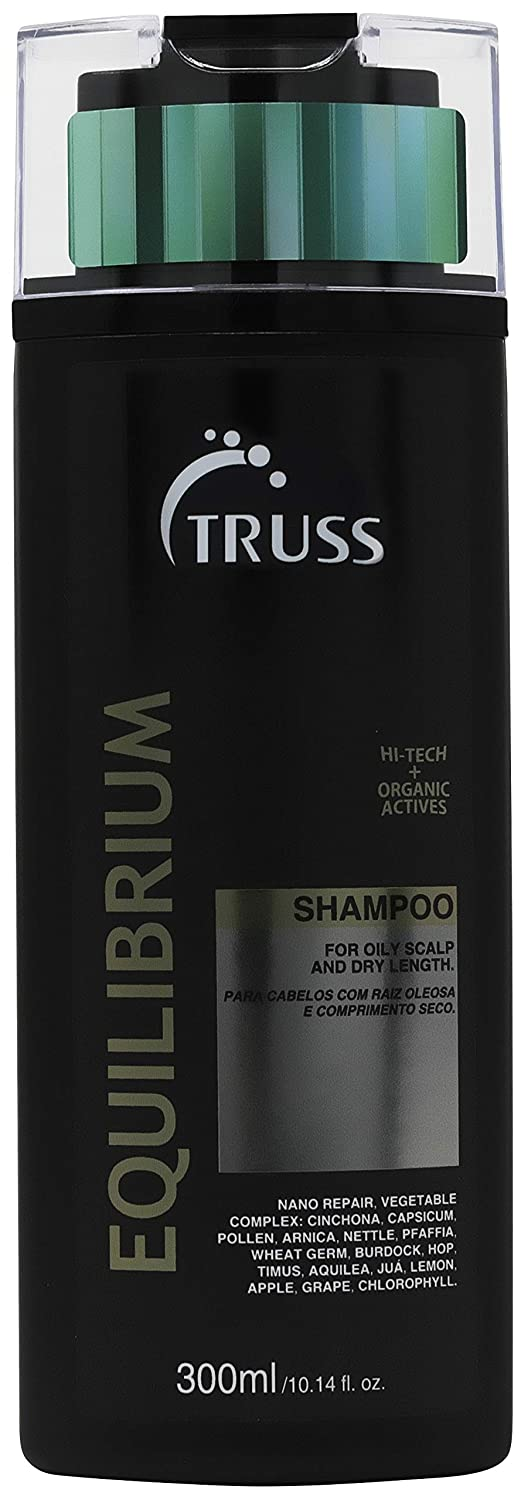 Truss Equilibrium Shampoo for Oily Scalp with Dry Ends - Cleans Scalp Balancing Excessive Oiliness In The Roots While Hydrating Hair Leaving it Strong & Vibrant. Prevents Dry Split Ends & Add Shine