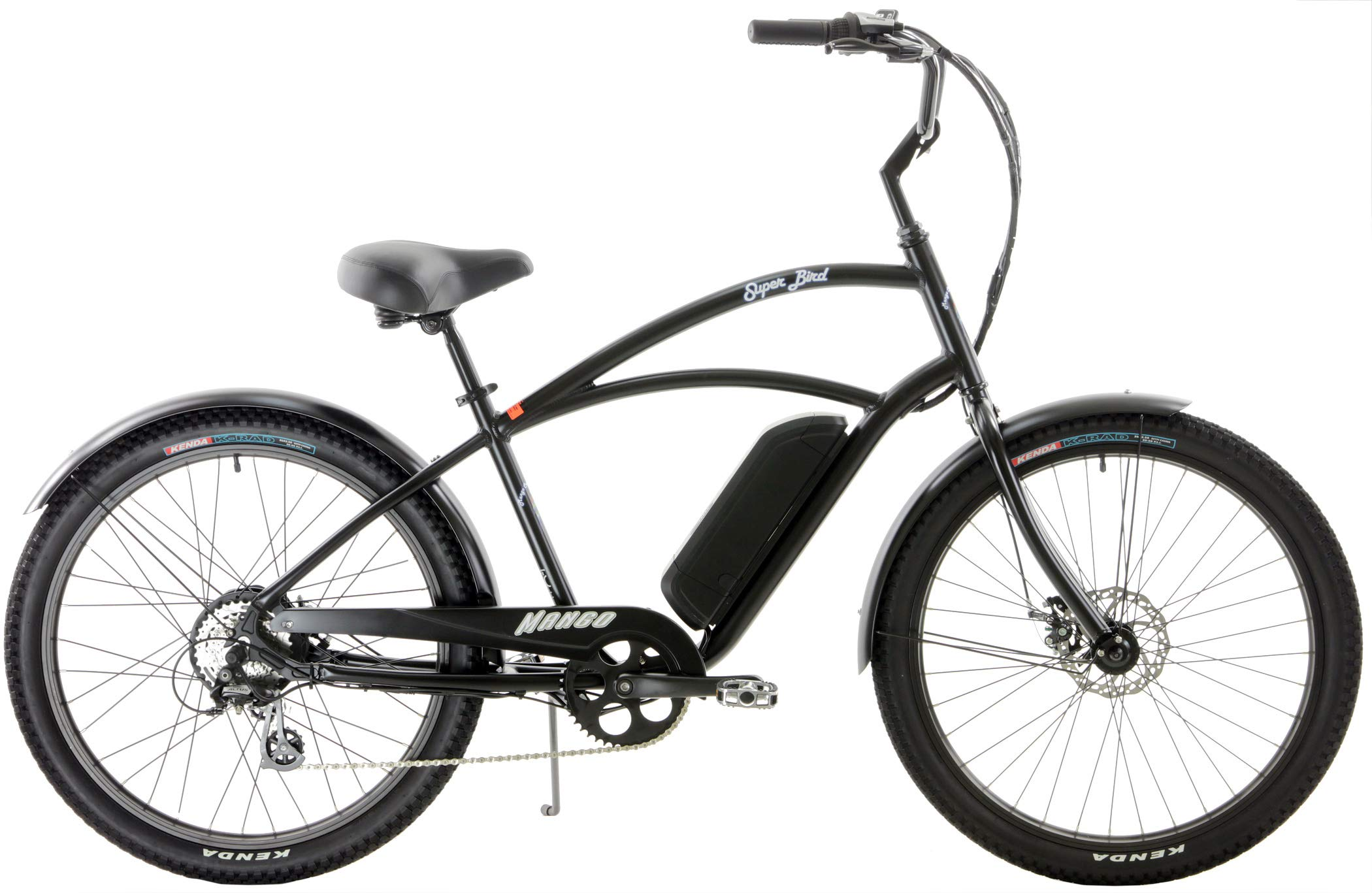 Quality Mango Superbird 8 Speed eBike Cruiser Aluminum 250w Electric Bicycle with Disc Brakes (Matt Black, Mens)