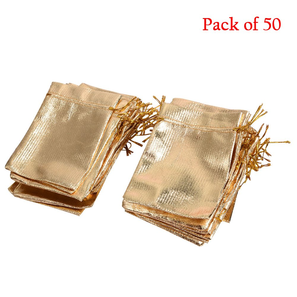 SHZONS 3.5x 4.7 Gift Bags Candy Bags Cloth Drawstring Wedding Favor Jewelry Pouch, Pack of 50