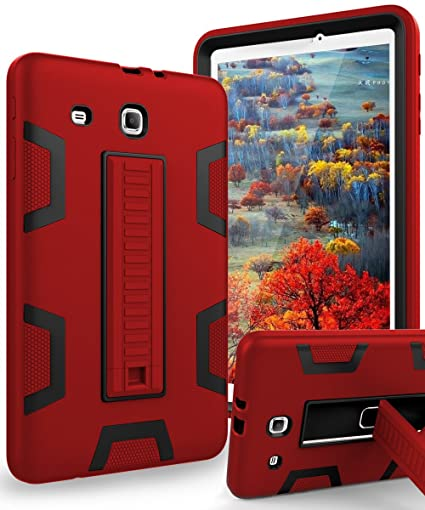 check out 7bd32 b3e2a TIANLI Samsung Galaxy Tab E 9.6 Case Anti-Scratch Shockproof Three Layer  Full Body Armor Protection with Sturdy Kickstand Anti-Fingerprint,Red Black