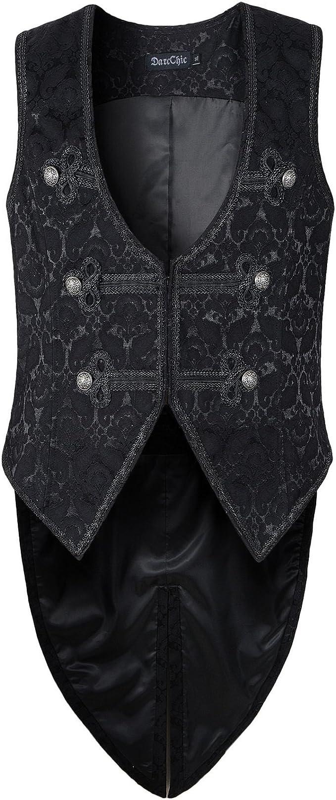 Paul Jones Mens Gothic Steampunk Vest Waistcoat Velvet Jacquard Tailcoat