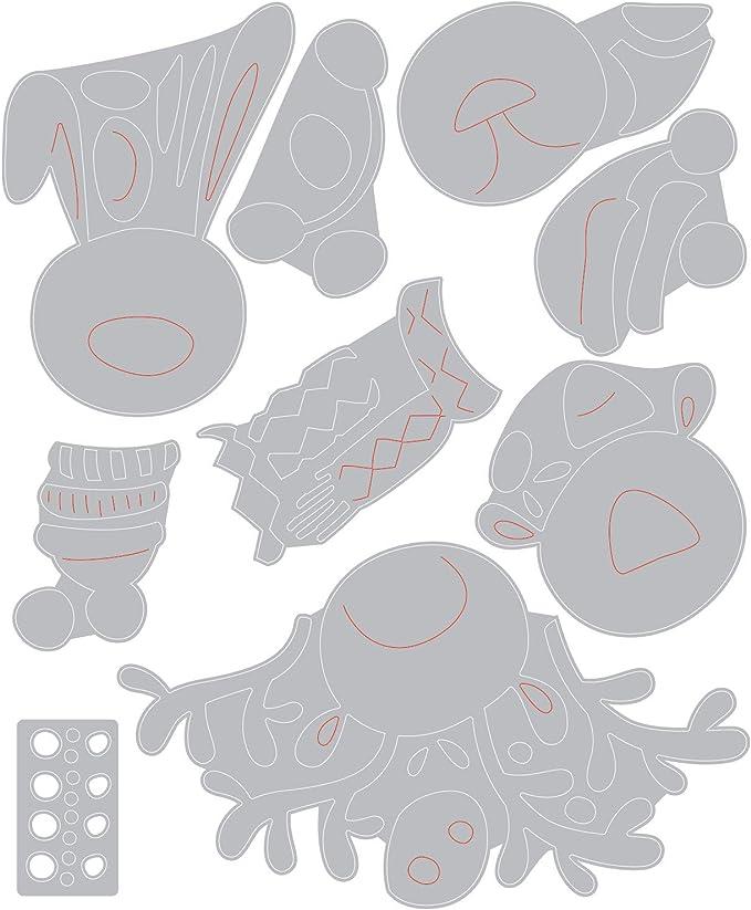 Taille unique Critters Dhiver Sizzix Matrice de d/écoupe Thinlits Set de 9pcs 664752 Animaux dhiver de Tim Holtz