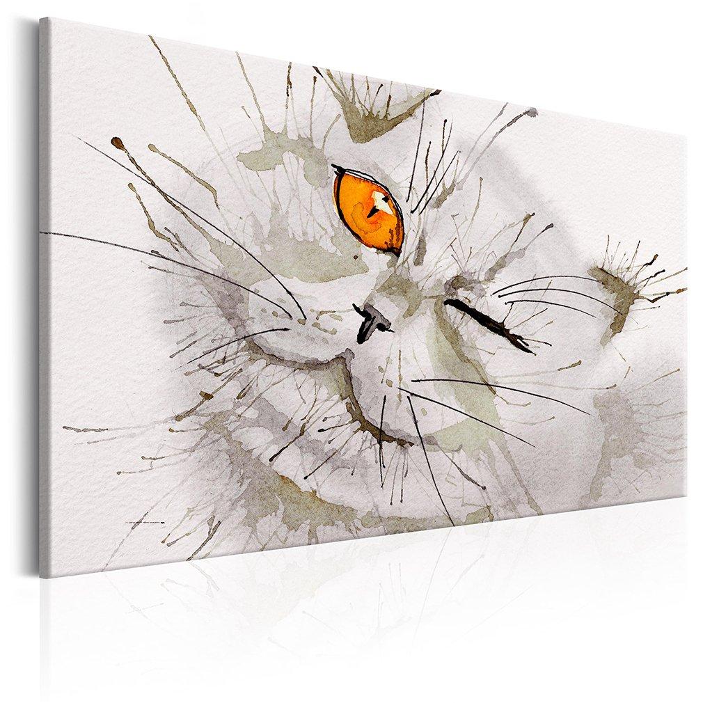 decomonkey Akustikbild Katze 90x60 cm 1 Teilig Bilder Leinwandbilder Wandbilder XXL Schallschlucker Schallschutz Akustikdämmung Wandbild Deko leise Aquarell Katzenauge Katze