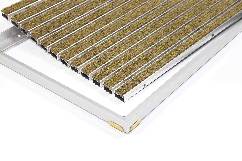 Gr/ö/ße:600 x 400 mm ALU Rahmen Fu/ßmatte T/ürmatte Schuhabstreifer EMCO Eingangsmatte DIPLOMAT Rips beige 22mm