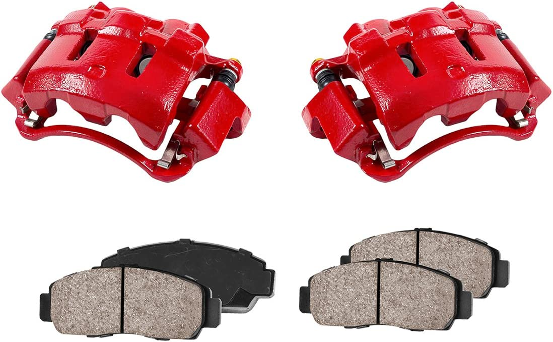 Quiet Low Dust Ceramic Brake Pads FRONT Performance Loaded Powder Coated Red Caliper Assembly 2 Callahan CCK12370