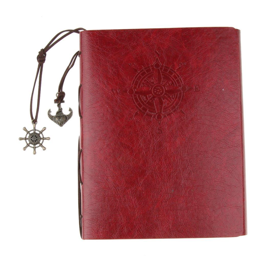 kokiya Álbum Del Libro De Recuerdos De DIY De 30 Hojas, Libro De Recuerdos Del Cuero Del Libro Del Marco De La Memoria - rojo