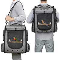 Bird Carrier Backpack Travel Parrot Bag Cage with Perch Stand for Parakeets Cockatiels Birdcage Vet Car Airlines…