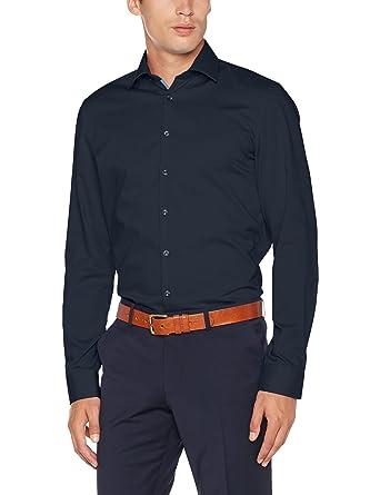 Seidensticker Slim Herren Langarm Bügelfrei Stretch Formal Hemd, Blau  (Dunkelblau 19), 36