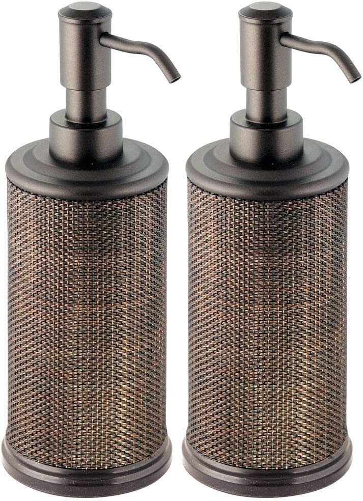 mDesign Round Metal Refillable Liquid Hand Soap Dispenser Pump Bottle for Kitchen, Bathroom | Also Can be Used for Hand Sanitizer & Essential Oils - Woven Accent, 2 Pack - Bronze