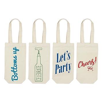 Vino bolsa bolsas – Pack de 4 bolsas de regalo para botella de vino bolsa de