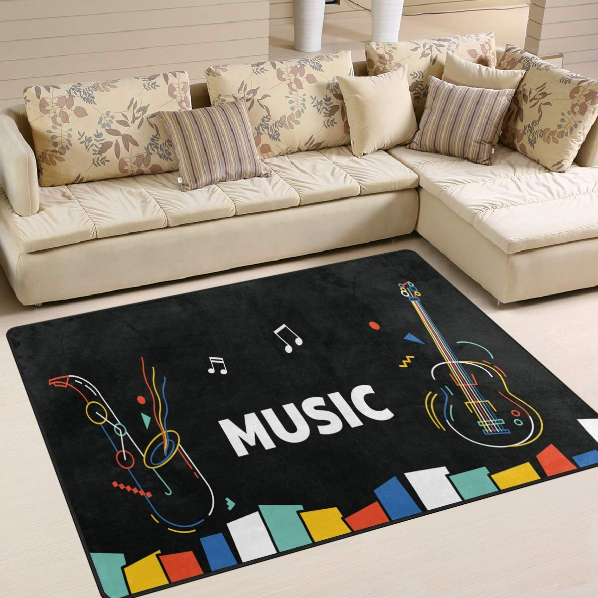 Area Rug 80x58 inch Music Note Piano Guitar Rainbow Black for Living Room Bedroom by rodde