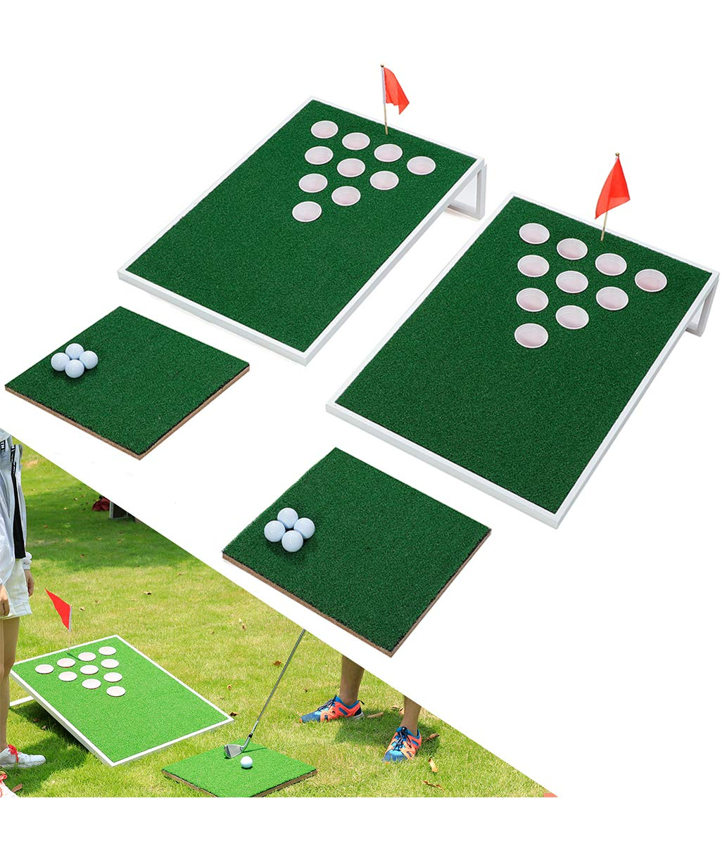 SPRAWL Golf Cornhole Beer Pong Set Board Mini Golf Practice Training Great Backyard Game for Your Family and Friends by SPRAWL