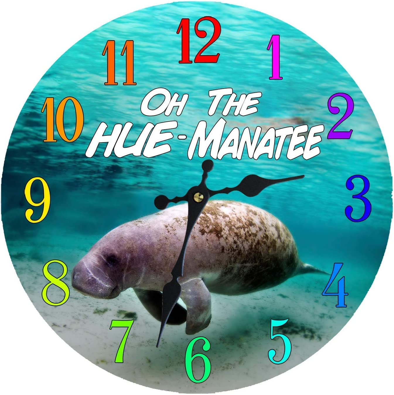 Wall Clock Glass Manatee Decorative 12 Inch Beach Theme Perfect Decor for  Kitchen Bathroom Office Rustic Battery Operated Clocks Great Nautical Theme  ...
