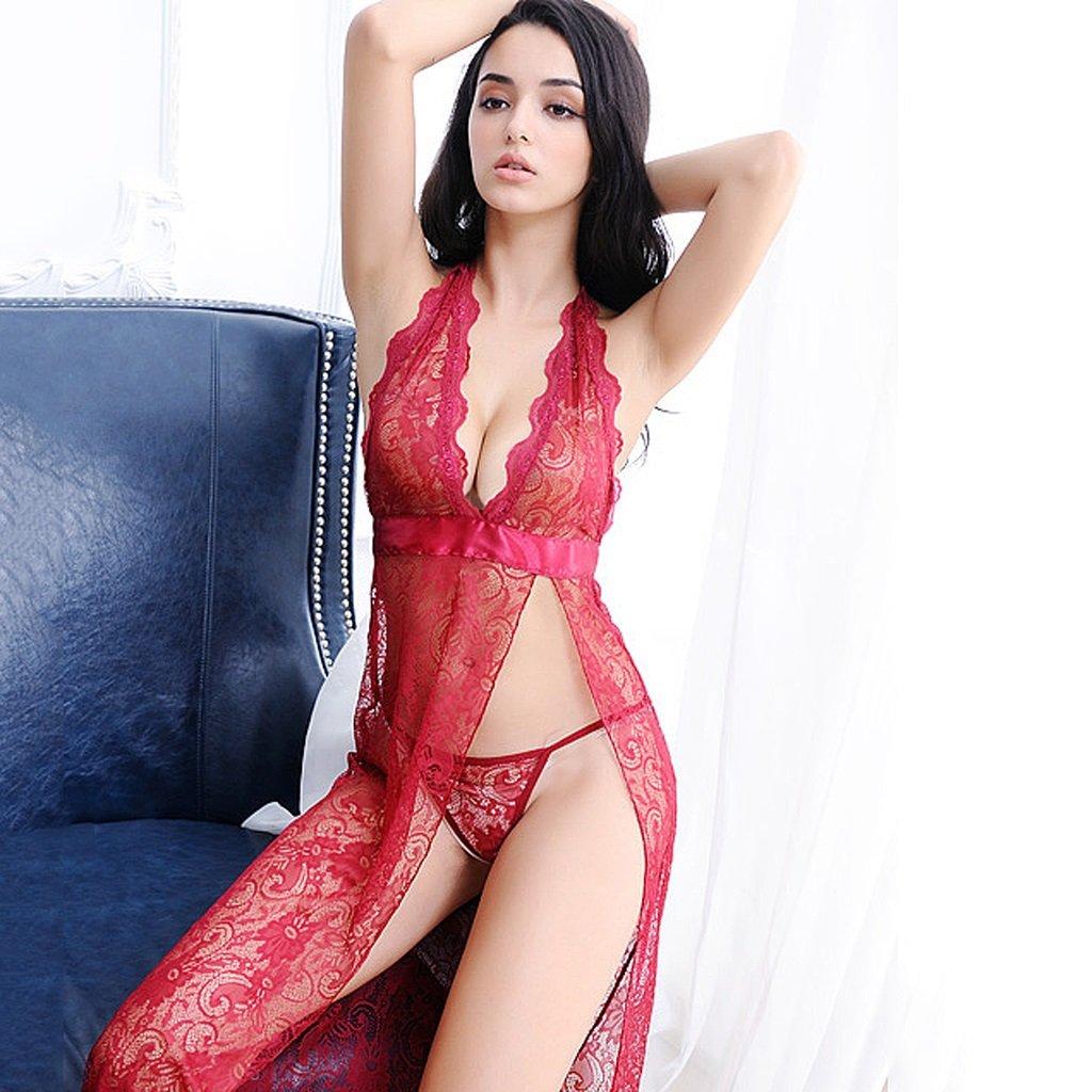Falda de dormir transparente hilo de rosca femenina extrema sexy pijama  tentación lencería vestido de encaje negro y rojo V collar ropa interior (  Color ... 907101d9e1a6