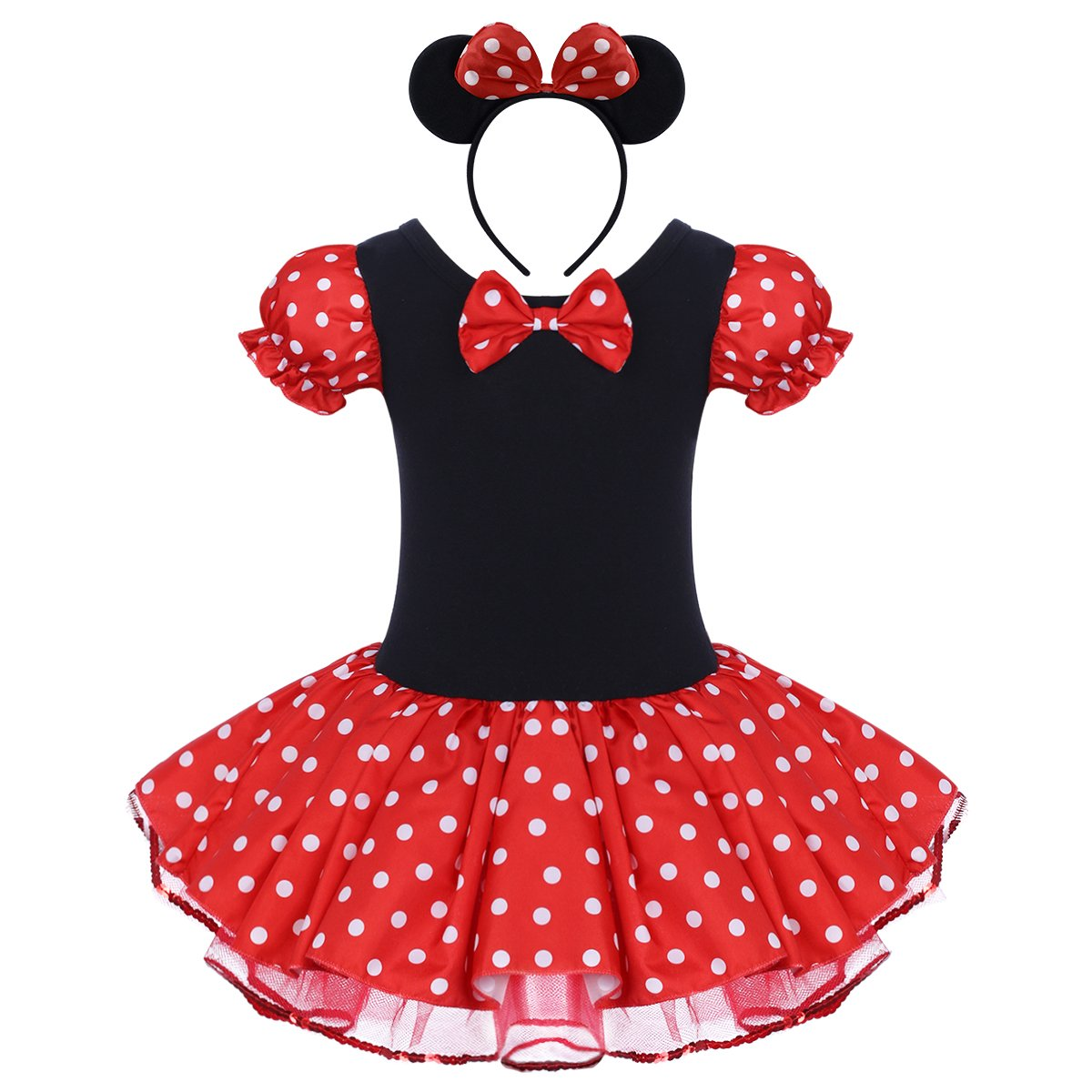 Kid Girl Minnie Costume Tutu Dress Ear Headband Outfit Birthday Party Princess Performance Halloween Fancy Dress Up # Red 4-5 Years