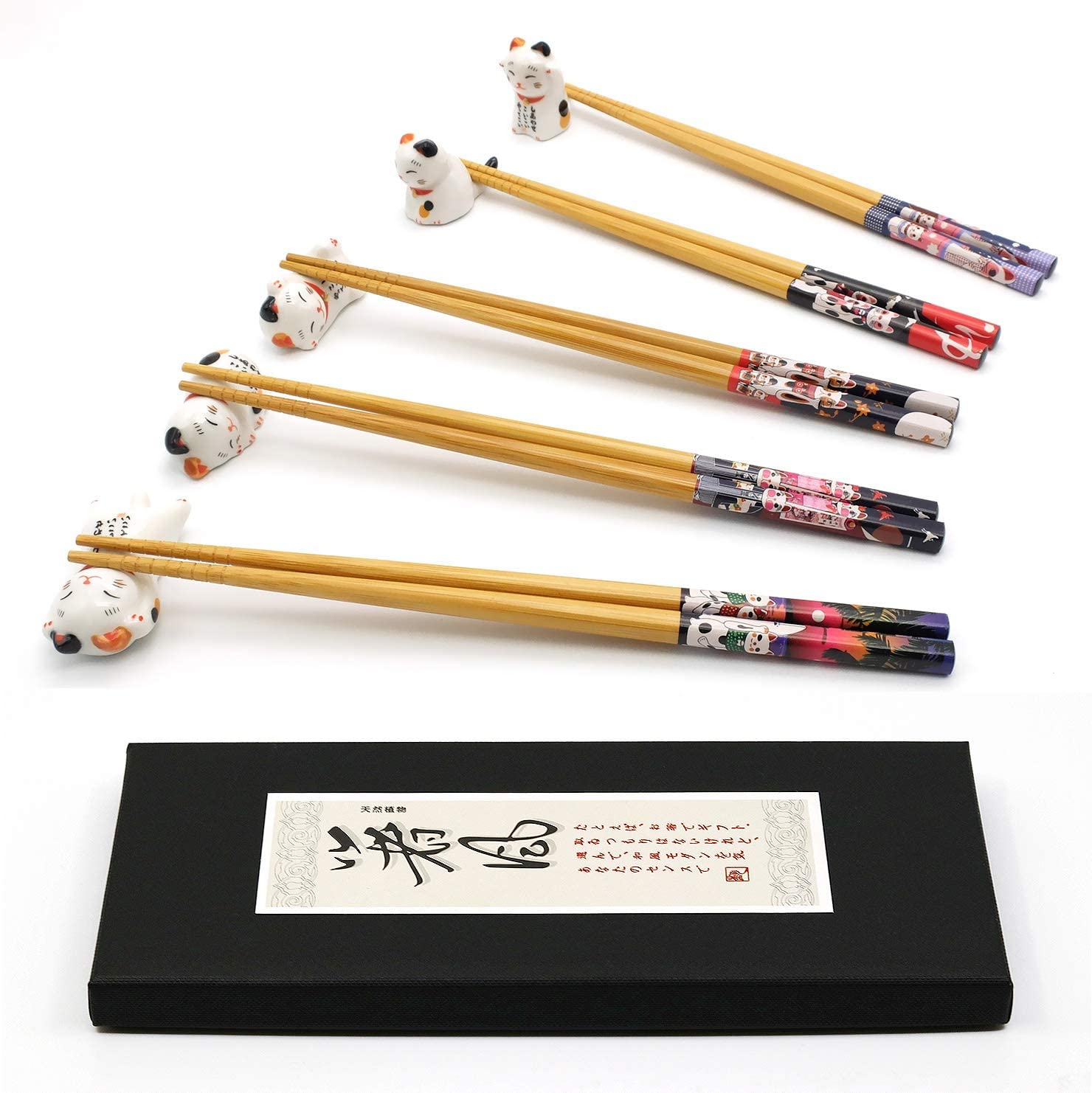 5 Pairs Chopsticks and Chopstick Rest Set, Cute Lucky Cat Chopsticks Holder 5 Cats, Classic Japanese Style Bamboo Natural Reusable Chopsticks, Dishwasher - Safe, Chopsticks Holder Gift Set (Lucky Cat)