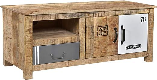 Woodkings Tv Bank Pune Holz Natur Braun Mango Metall Mix Tv Unterschrank Design Tv Mobel Schublade Holzmobel Amazon De Kuche Haushalt