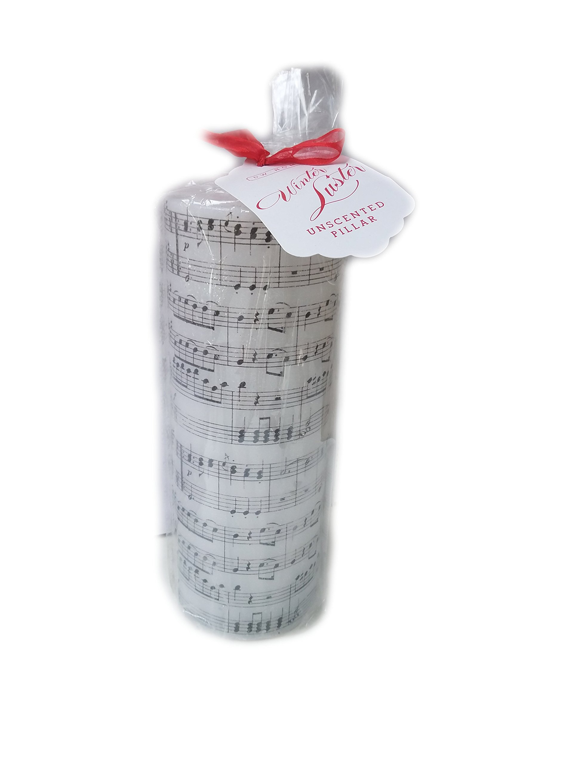 DW Home Music Notes Winter Luster Unscented Pillar Decorative Cylinder Christmas Candle 10'' High x 3.75'' Wide
