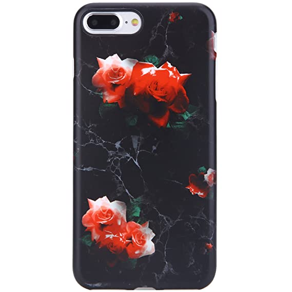 new style e6652 26384 iPhone 7 Plus Case Black Marble and Red Rose,iPhone 8 Plus Case,VIVIBIN  Shock Absorption Matte TPU Soft Rubber Silicone Cover Phone Case for iPhone  7 ...