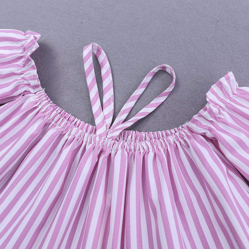 Headband ZIYOYOR Kids Girls Summer Pink 3Pcs Outfit Set Stripe Off Shoulder Top+Hole Leggings