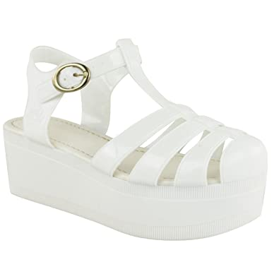 cc4118b7a249 Fashion Thirsty LADIES WOMENS WEDGES JELLY SANDALS CHUNKY PLATFORM  GLADIATOR SUMMER SHOES SIZE (UK 6