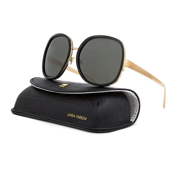 b653d37a936 Linda Farrow Luxe LFL 310 Butterfly Sunglasses C1 Black Yellow Gold   Grey  Lens  Linda Farrow  Amazon.ca  Clothing   Accessories