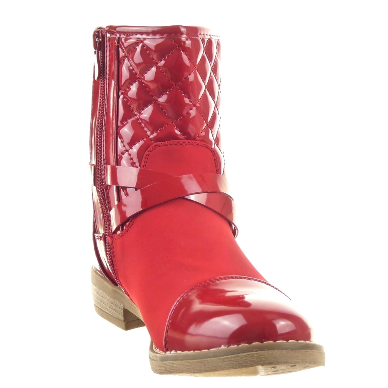 Sopily - Zapatillas de Moda Botines Cavalier Botas de guma de lluvia A medio muslo mujer brillantes zapato acolchado Talón Tacón ancho 2.5 CM - Rojo FRF-J79 ...
