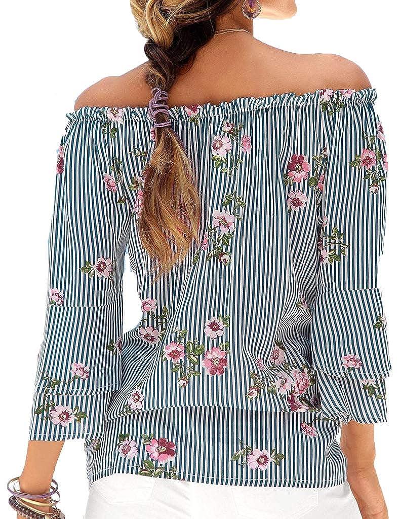 Yiarnme Mujer Verano Casual Blusa Camiseta 3/4 Manga Suelto T-Shirt Tops Sin Tirantes Camisas
