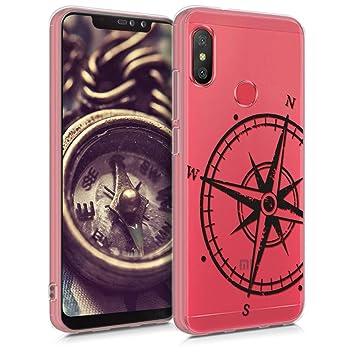 kwmobile Funda para Xiaomi Redmi Note 6 Pro - Carcasa de [TPU] para móvil y diseño de Aguja magnética en [Negro/Transparente]