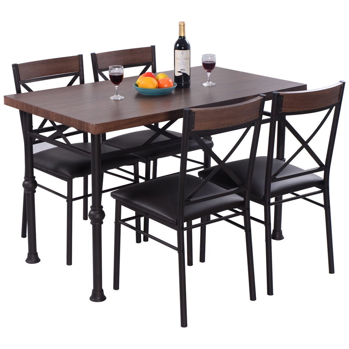 Giantex 5 Piece Modern Dining Set Table and 4 Chairs Wood ...