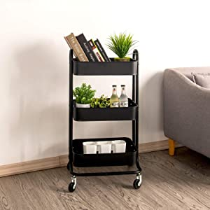 LIK.TOPPER 3-Tier Rolling Utility Cart, Use for Kitchen Home with Wheels Metal Storage Organization Cart for Home Kitchen,Black