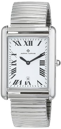 Alpha Saphir Reloj Analógico para Hombre de Cuarzo con Correa en Acero Inoxidable 342B-1: Amazon.es: Relojes