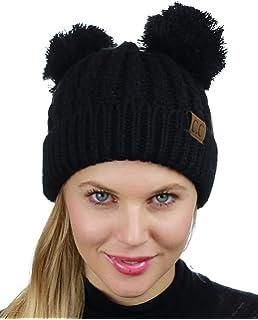 1ea08edf3 Women's Winter Chunky Knit Double Pom Pom Beanie Hat With Hair Tie ...