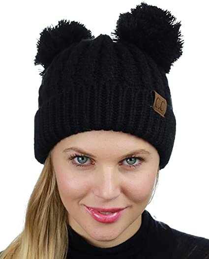 abbca1886 CC 2 Ear Pom Pom Cable Knit Soft Stretch Cuff Skully Beanie Hat