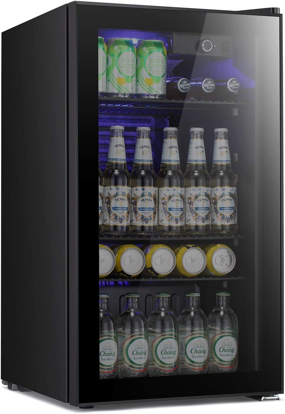 Antarctic Star Beverage Refrigerator -120 Can Mini Fridge for Soda Beer or wine,Small Drink Dispenser, For Office or Bar with Adjustable Removable Shelves,Convertible door ,3.2 Cu. Ft.