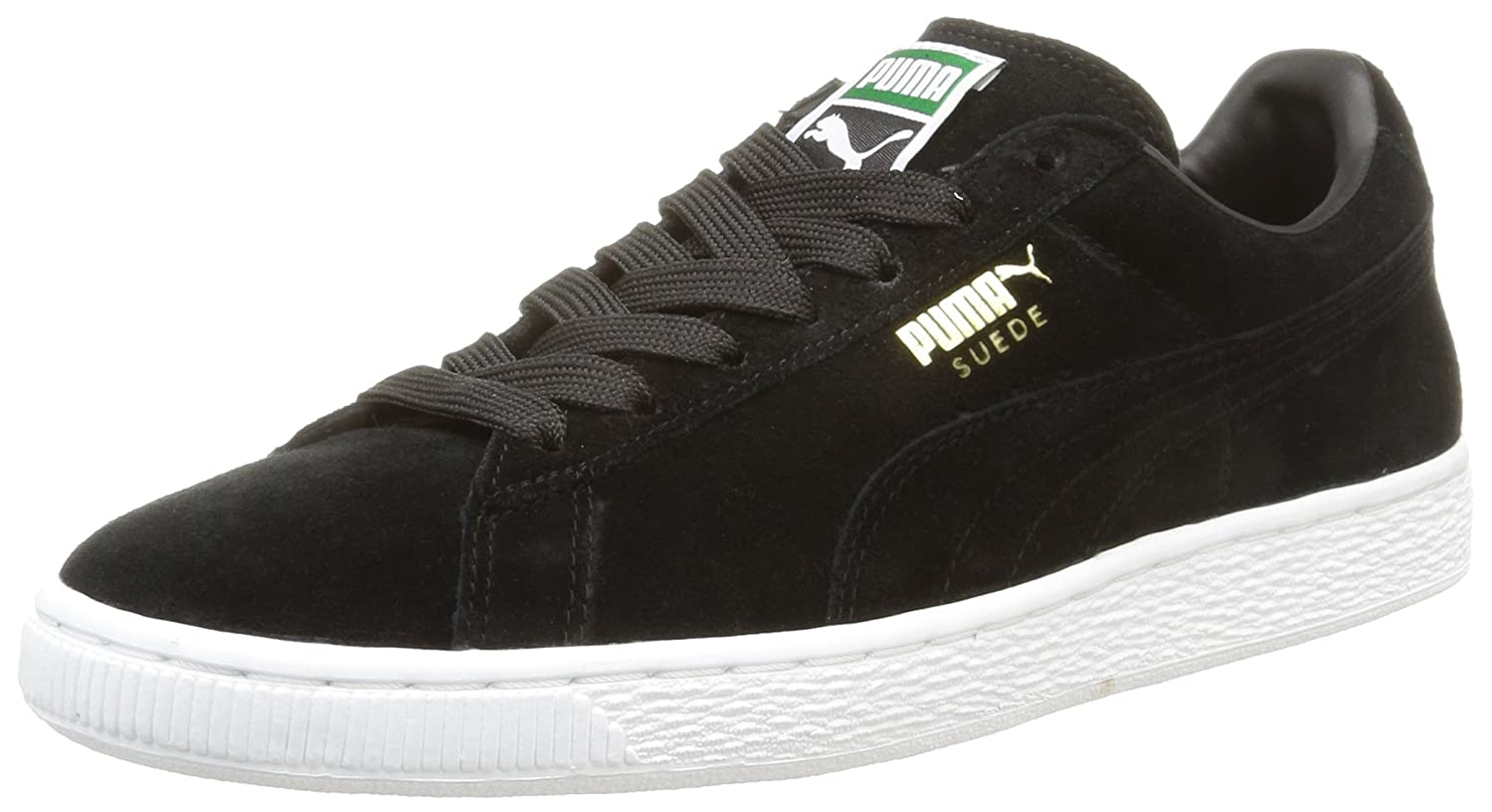 Puma Suede Classic+, Herren High-Top Sneaker  42.5 EU|Black/Team Gold/White