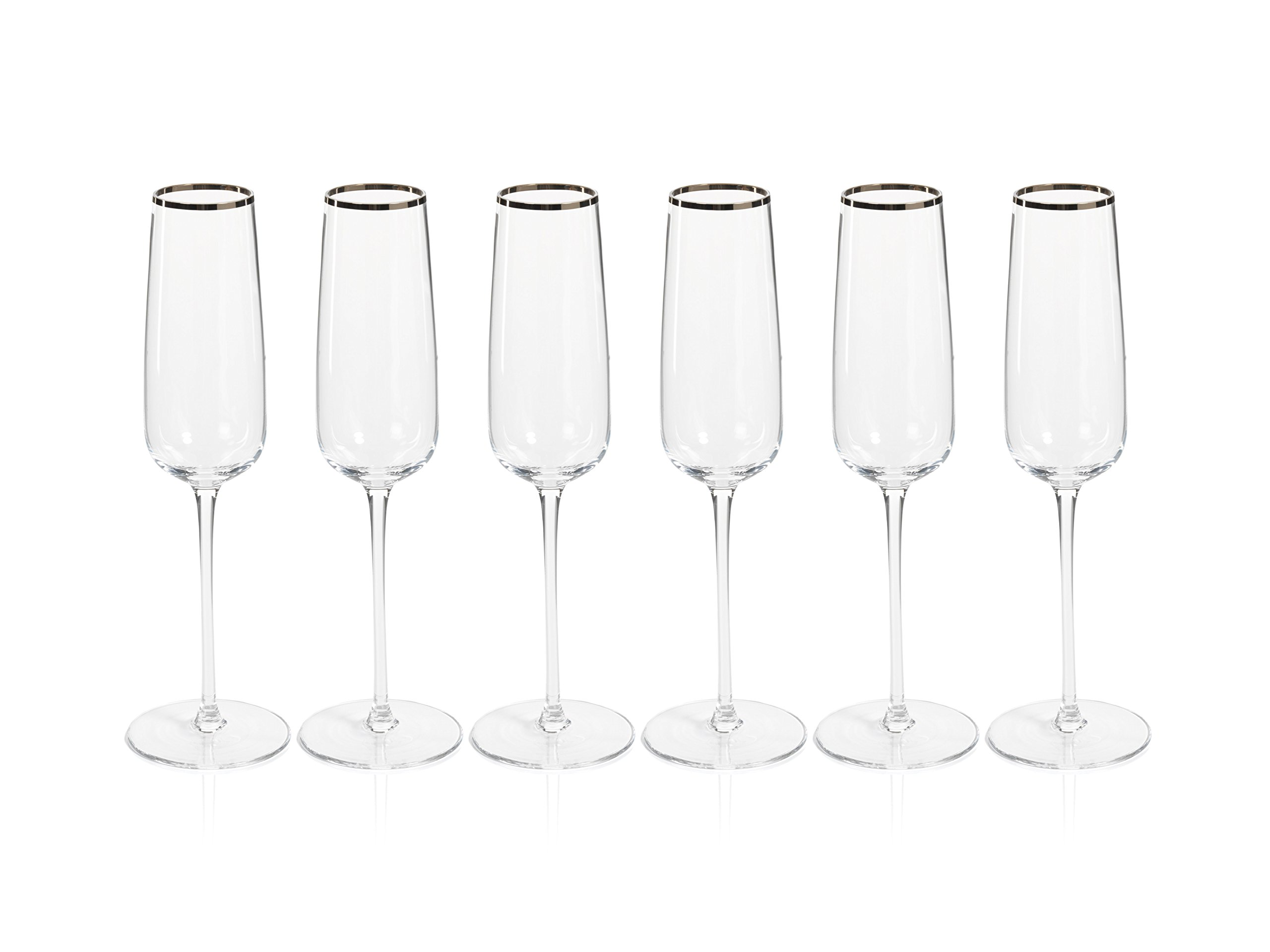 Zodax London 10.5'' Tall Champagne Flutes with Platinum Rim (Set of 6) Glasses, 6 Piece