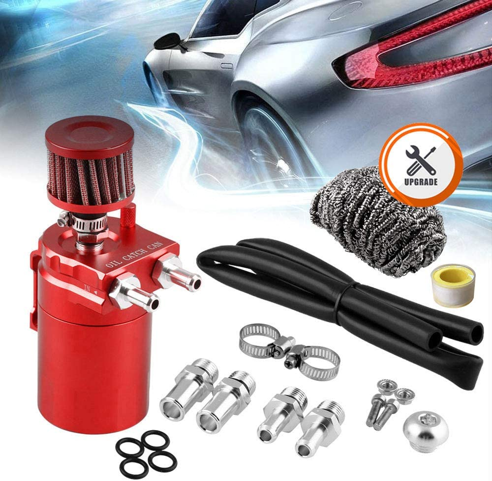 RuienUniversal 350ml Oil Catch Can Tank with Breather Aluminum Compact Dual Cylinder Polish Baffled Engine Air Oil Separator Tank Reservoir Kit Red