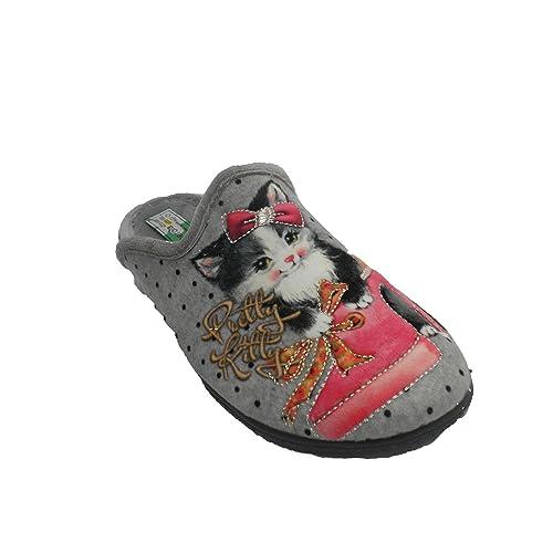 Zapatilla Mujer Estar en casa Abierta por detrás Gato Alberola en Gris Talla 42: Amazon.es: Zapatos y complementos