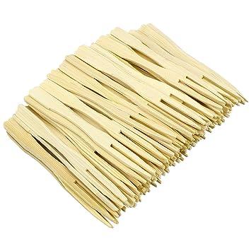 Hysagtek - Tenedores desechables de bambú para fiesta, 400 unidades, 2 puntas, tenedores