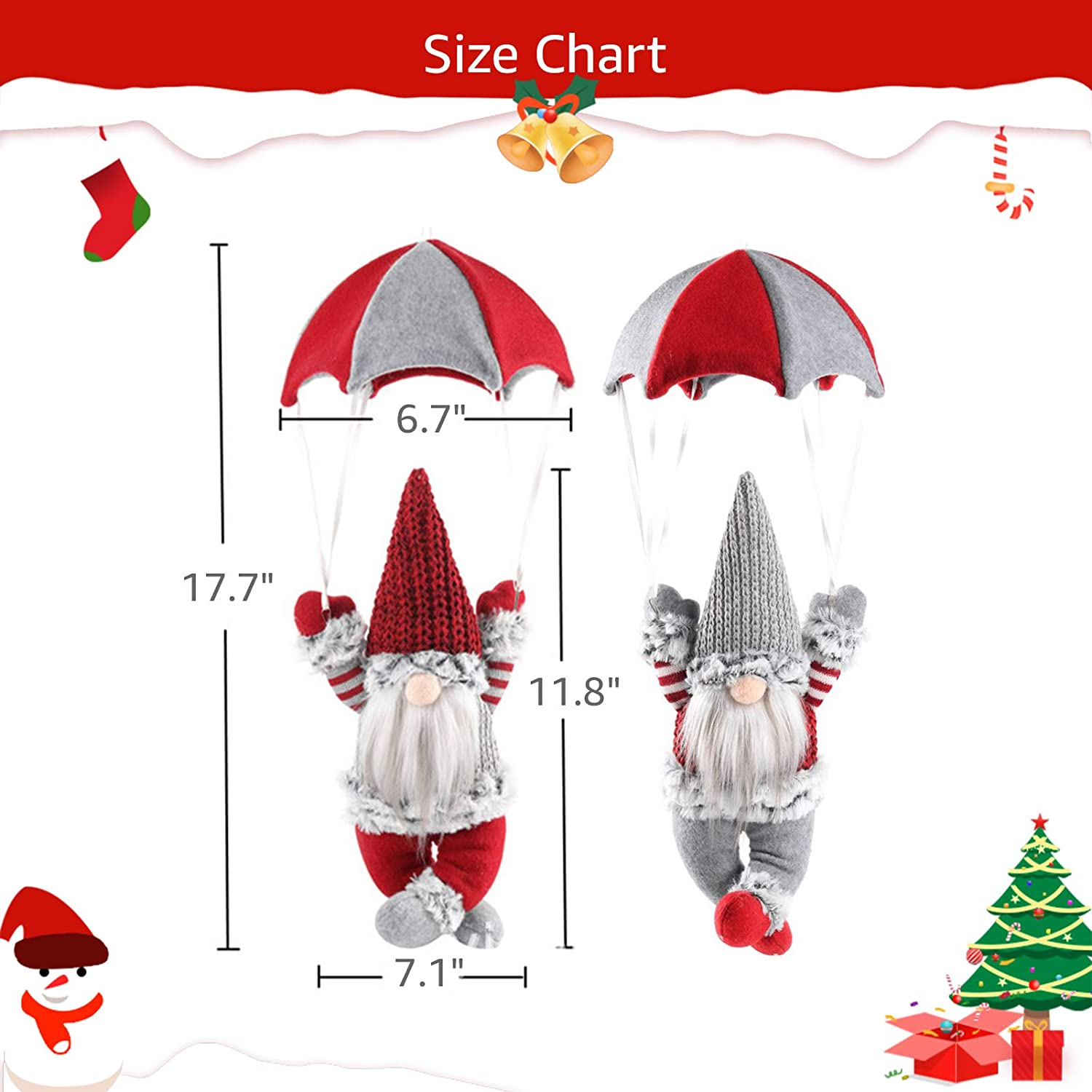 Red and Grey Patterns with Parachute 18 Holiday Gnome Plush Swedish Tomte for Indoor Outdoor ANRIU 2 PCS Gnome Christmas Decorations Hanging and Table Top Christmas Decorations