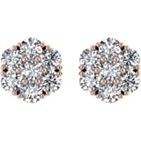 IGI Certified 14K Gold Round Diamond Star Flower Shaped Stud Earring ( 1.00 Carat)