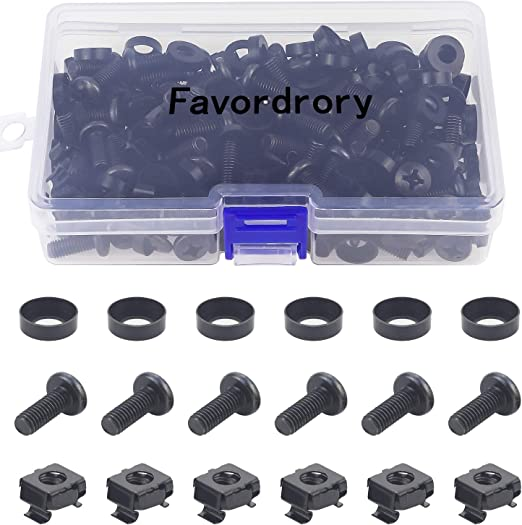 M6 x 16mm Rack Mount Cage Nuts Screws and Washers for Rack Mount Server Cabinet
