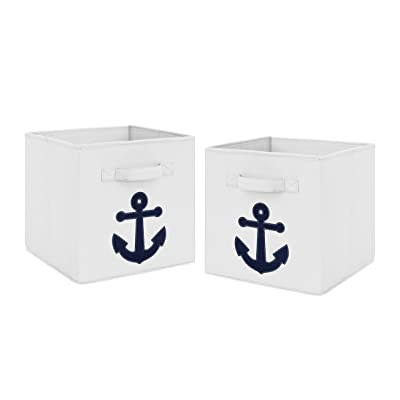 Navy Blue Nautical Anchor Foldable Fabric Storage Cube Bins Boxes Organizer Toys Kids Baby Childrens for Anchors Away Collection by Sweet Jojo Designs - Set of 2 : Baby