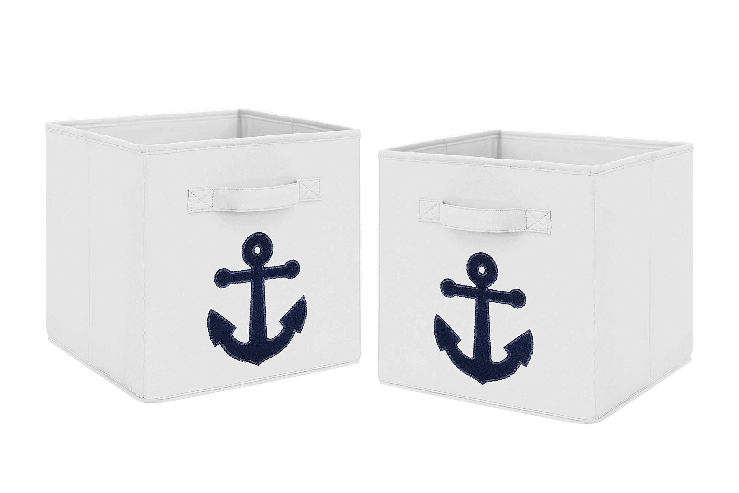 Navy Blue Nautical Anchor Foldable Fabric Storage Cube Bins Boxes Organizer Toys Kids Baby Childrens for Anchors Away Collection by Sweet Jojo Designs - Set of 2 by Sweet Jojo Designs