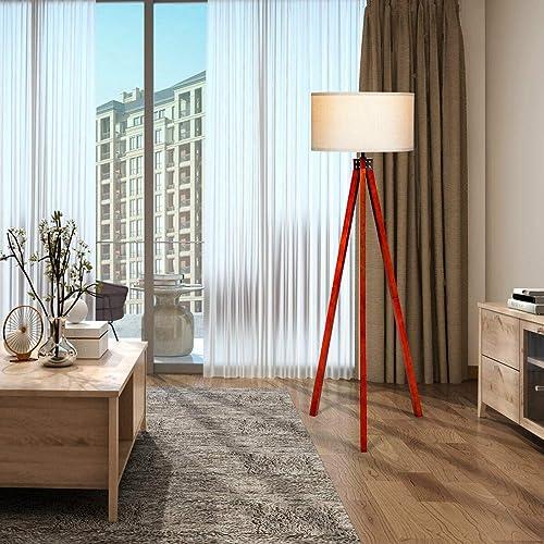 Tangkula 60.5″ Wooden Tripod Floor Lamp