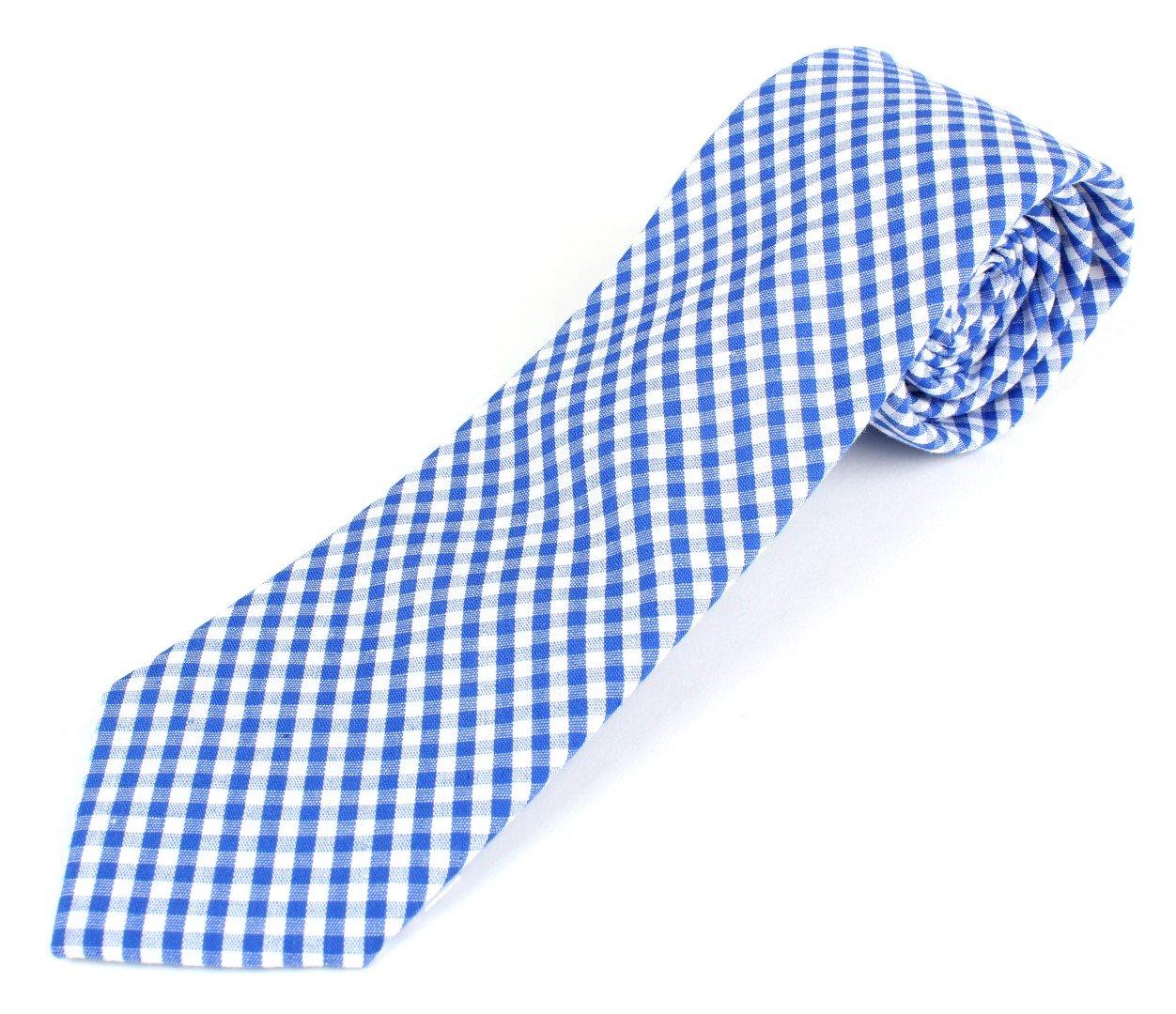 Men's Cotton Skinny Necktie Tie Gingham Checkered Pattern - Bright Blue