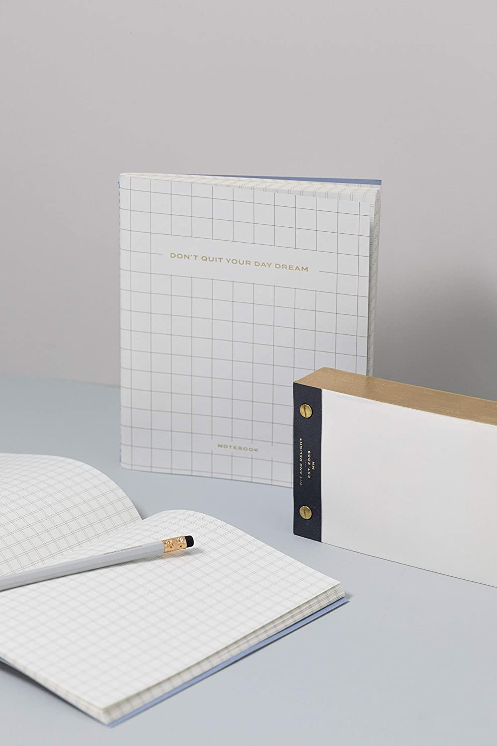 Dont Quit Your Day Dream Grid Notebook//Journal Wit /& Delight Size 6.5 X 8 100 GSM Quality Paper/| White 40 Gridded Cream Pages