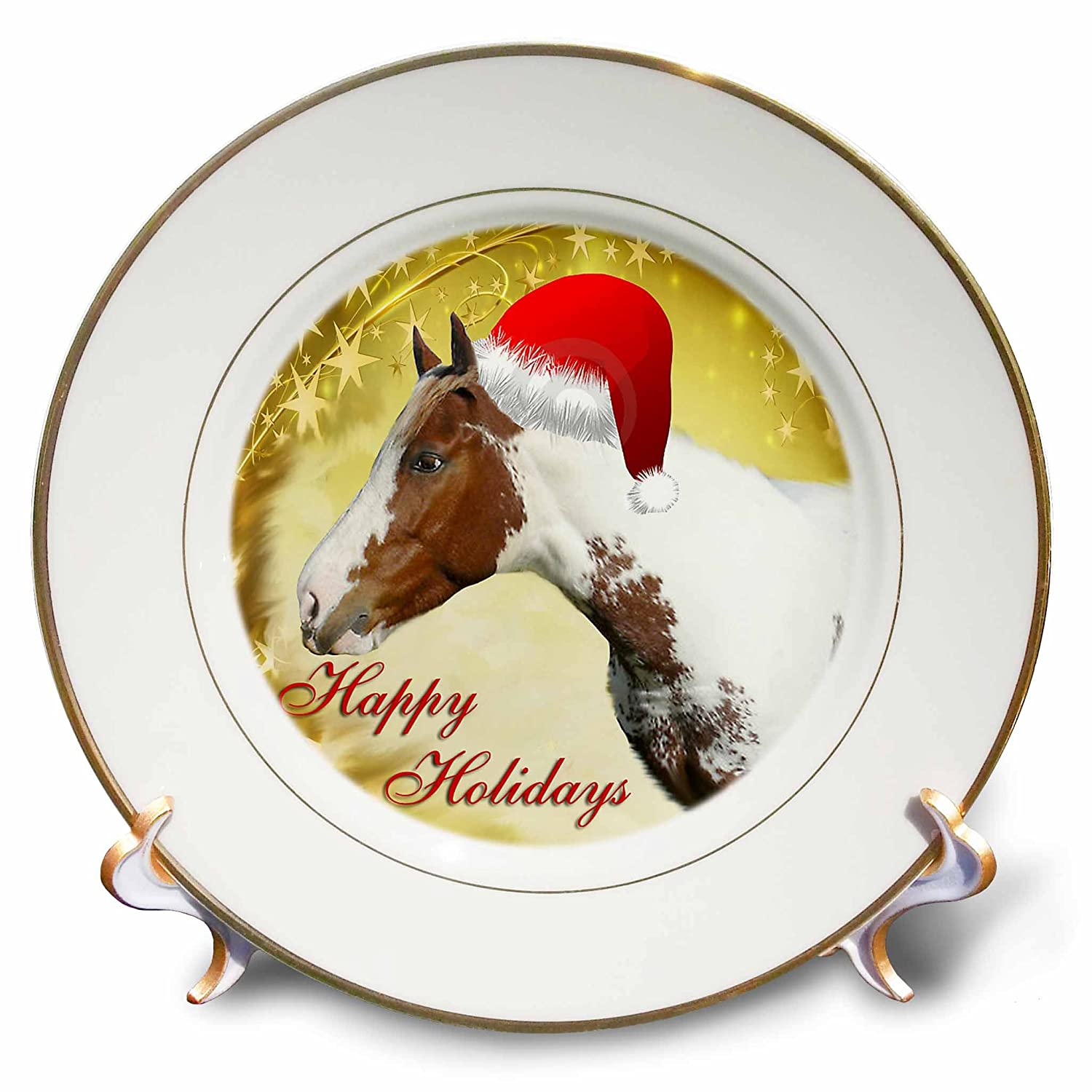 8-Inch 3dRose cp/_4585/_1 Christmas Horse Porcelain Plate