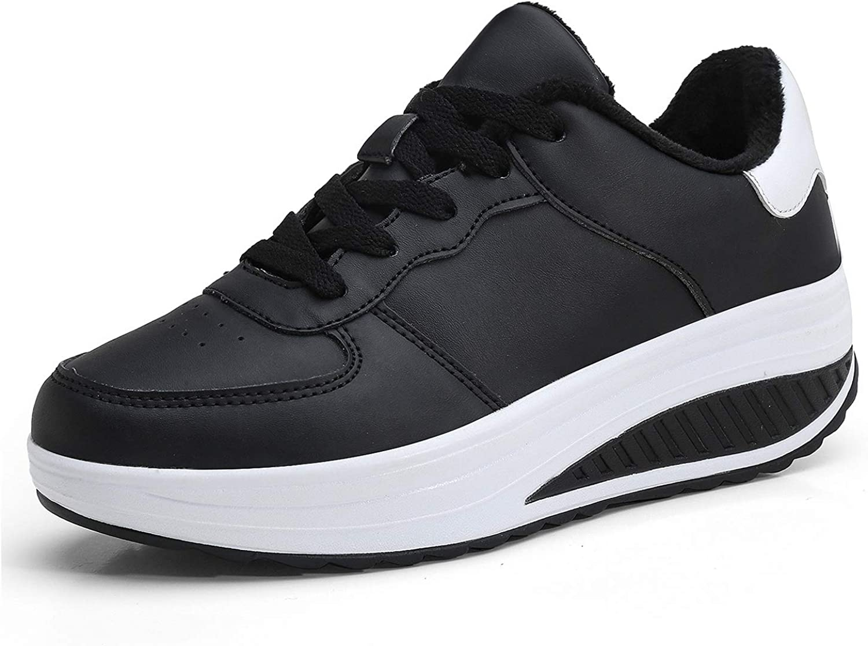 Donna Sneakers Scarpe da Fitness in Pelle Piattaforma con Zeppa Palestra Walking Scarpe da Ginnastica passeggioda Ballo Scarpe Stringate 4 CM